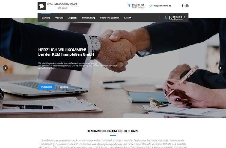 Webseite von KEM Immobilien GmbH